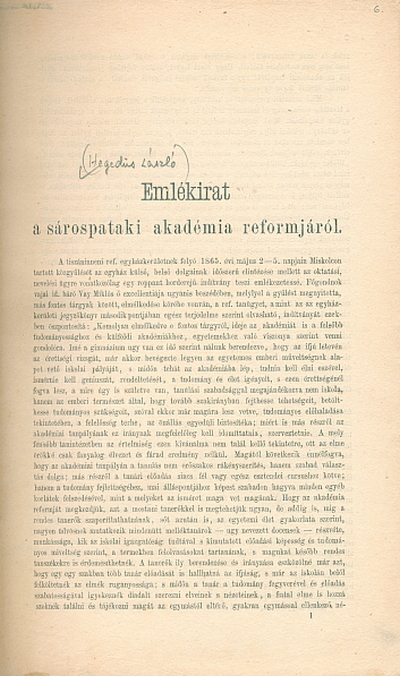 Emlékirat a sárospataki akadémia reformjáról