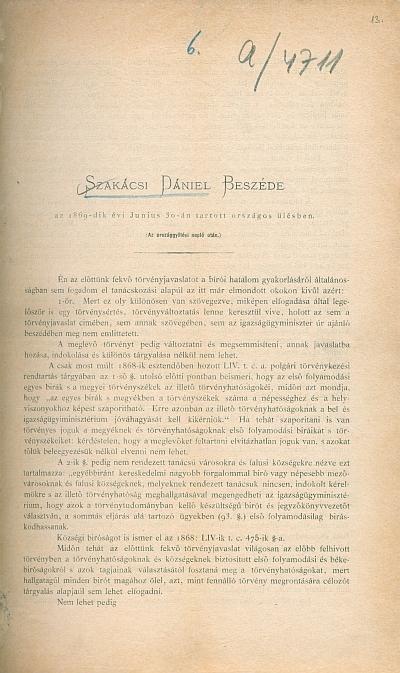 Szakácsi Dániel beszéde az 1869-dik évi jun. 30-án tartott országos ülésben országos ülésben