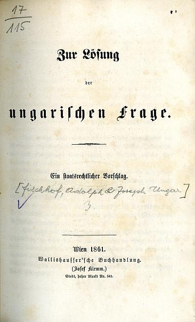 Zur Lösung der ungarischen Frage