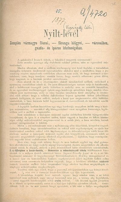 Nyilt-levél Zemplén vármegye főurai, főrangu hölgyei, városaihoz, gazda- és iparos közönségéhez