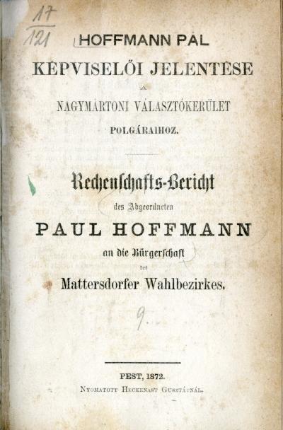 Hoffmann Pál képviselői jelentése a nagymártoni választókerület polgáraihoz