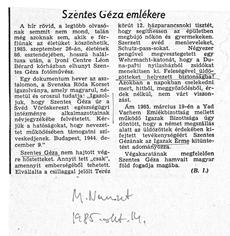 Szentes Géza emlékére - újságcikk