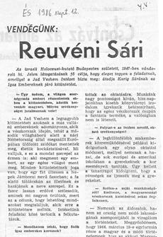 Vendégünk: Reuvéni Sári - újságcikk