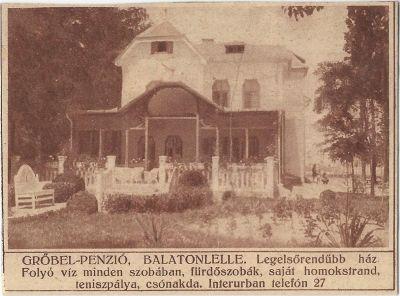 Grőbel Panzió, Balatonlelle, 1928