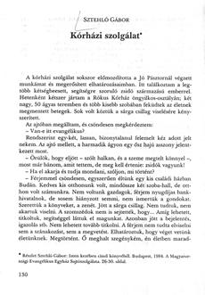 Sztehló Gábor - Kórházi szolgálat - könyvrészlet