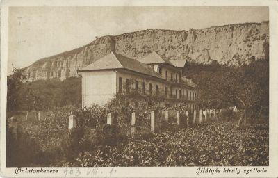 Mátyás király szálloda - képeslap, Balatonkenese, 1933