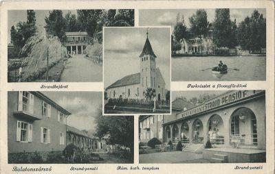 Strand Panzió - képeslap, Balatonszárszó, 1930-as évek