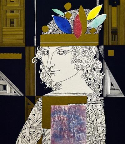 Nő színes tolldíszekkel
