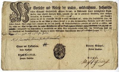 Tréfás tagsági igazolás -- a papucsférjek társasága, 1807