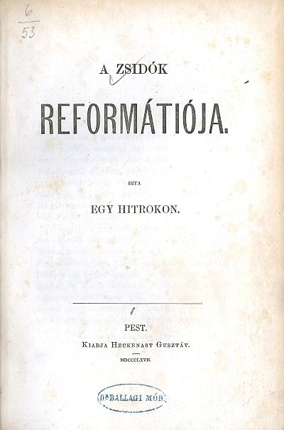 A zsidók reformátiója
