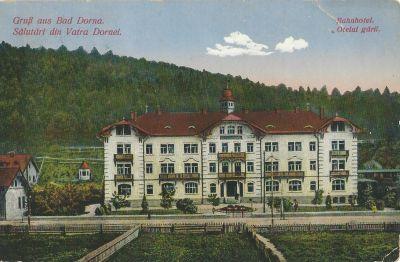 Vasúti Szálloda - képeslap, Dornavátra, 1914