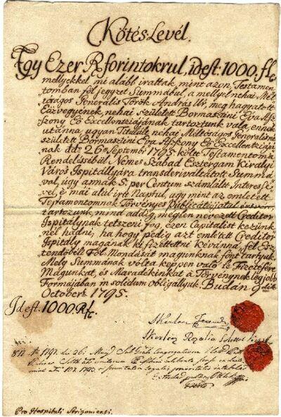 Adóslevél, Kerlen Ferenc és Rozália, 1000 forint, 1795