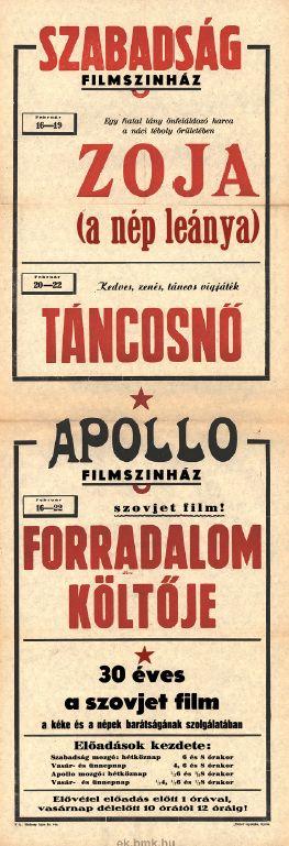 Szabadság és Apollo Filmszínház programjai 1949. február 16-22