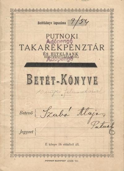 Putnoki takarékpénztár és hitelbank részvénytársaság betét - könyve
