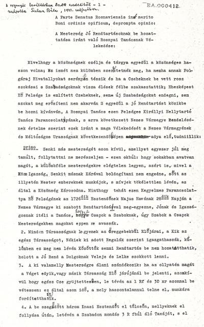 Sulán Béla: A rozsnyói tanács vélekedése a mesterség jó rendtartásoknak behozattatása iránt