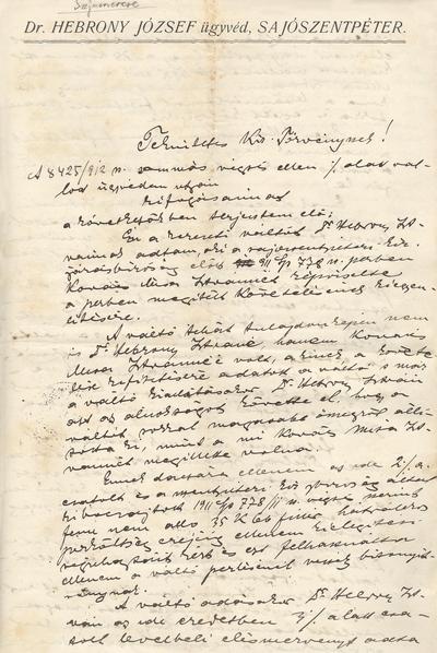 Ügyvédi iratok. Kurátor Kovács István kifogásai Dr. Barta Jenő miskolci ügyvéd kérelmére