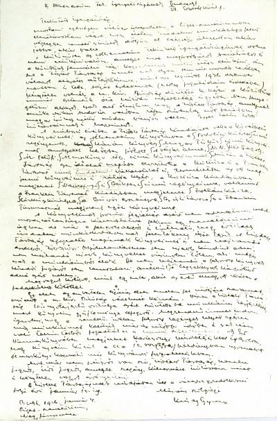 Krúdy Gyula kézírásos levele