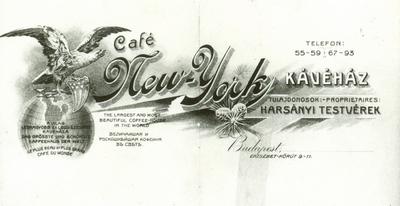 A New York kávéházat reklámozó röplap
