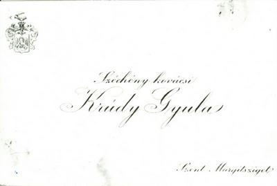 Krúdy Gyula névjegykártyája
