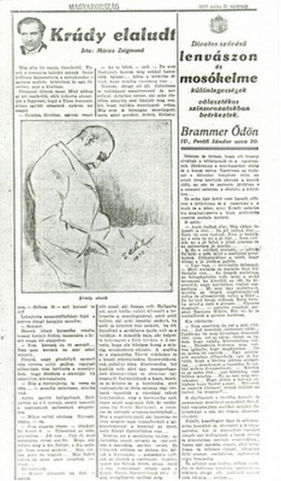 Móricz Zsigmond nekrológja Krúdy Gyuláról a Magyarországban