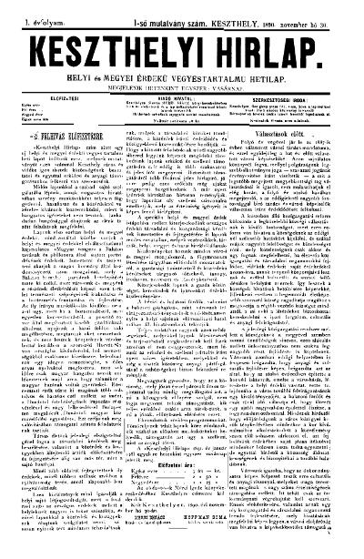 Keszthelyi Hirlap 1890.11.30.