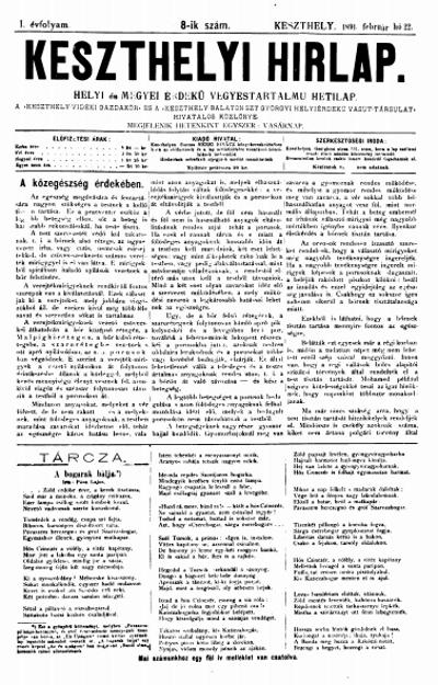 Keszthelyi Hirlap 1891.02.22.