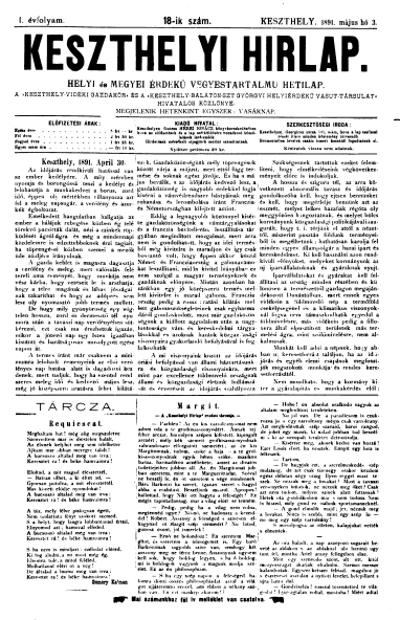 Keszthelyi Hirlap 1891.05.03.