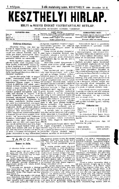 Keszthelyi Hirlap 1890.12.12.