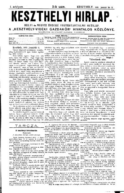 Keszthelyi Hirlap 1891.01.11.