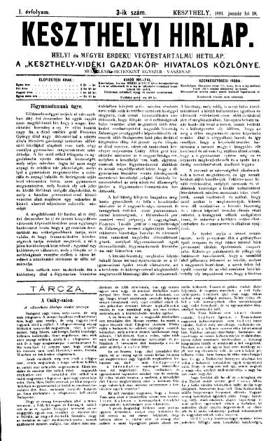 Keszthelyi Hirlap 1891.01.18.
