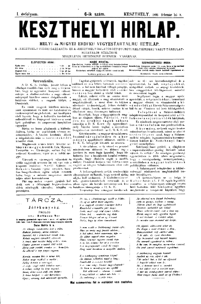 Keszthelyi Hirlap 1891.02.08.