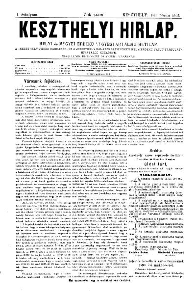 Keszthelyi Hirlap 1891.02.15.