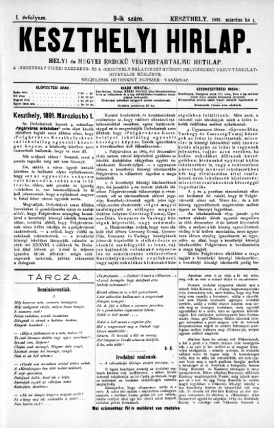 Keszthelyi Hirlap 1891.03.01.