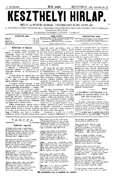 Keszthelyi Hirlap 1891.03.22.