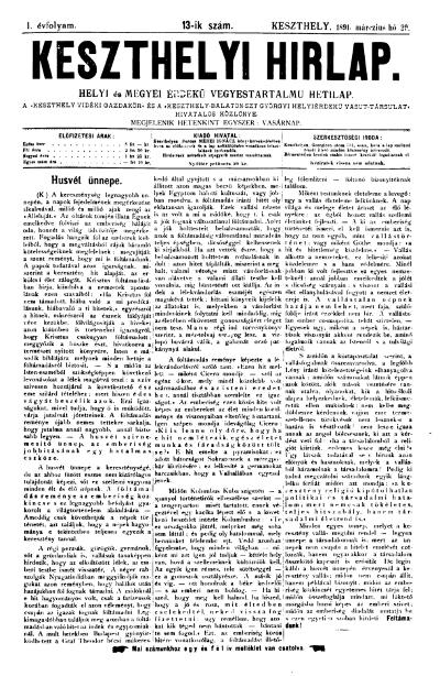 Keszthelyi Hirlap 1891.03.29.