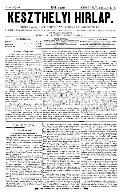 Keszthelyi Hirlap 1891.04.12.