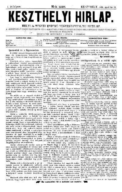 Keszthelyi Hirlap 1891.04.19.