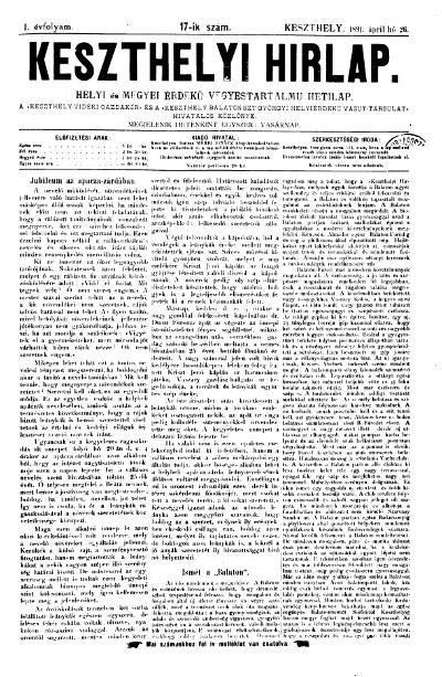Keszthelyi Hirlap 1891.04.26.