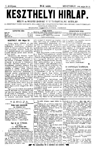 Keszthelyi Hirlap 1891.05.24.