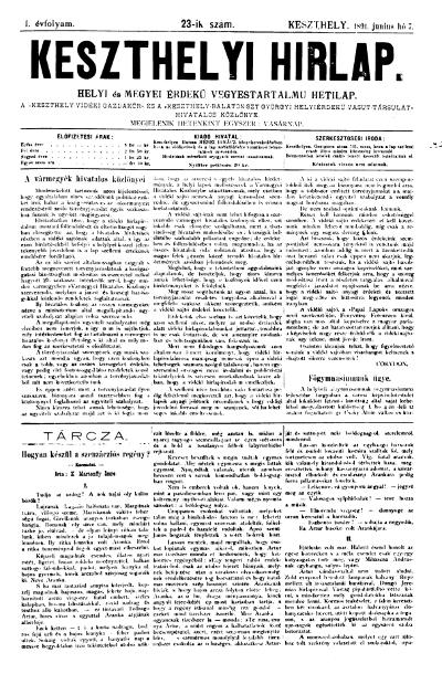 Keszthelyi Hirlap 1891.06.07.