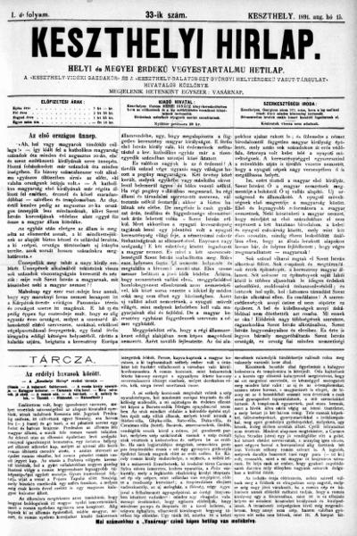 Keszthelyi Hirlap 1891.08.15.