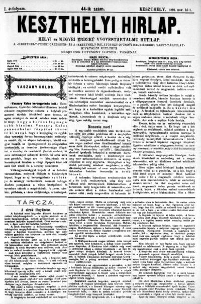 Keszthelyi Hirlap 1891.11.01.