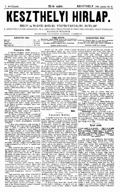 Keszthelyi Hirlap 1891.06.21.