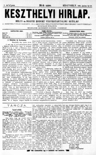 Keszthelyi Hirlap 1891.06.28.