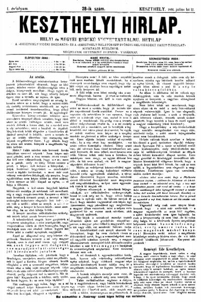 Keszthelyi Hirlap 1891.07.12.