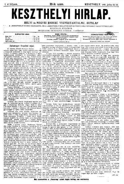 Keszthelyi Hirlap 1891.07.26.