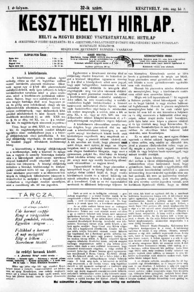 Keszthelyi Hirlap 1891.08.09.