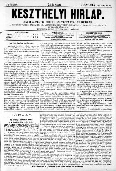 Keszthelyi Hirlap 1891.08.23.