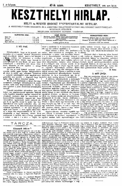 Keszthelyi Hirlap 1891.11.22.