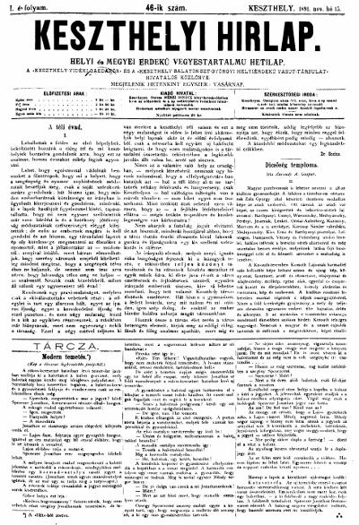 Keszthelyi Hirlap 1891.11.15.